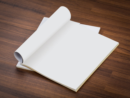 magazine reading: Blank catalog, magazines,book mock up on wood background ( with 2 layer clipping path : Page,Roll) Stock Photo
