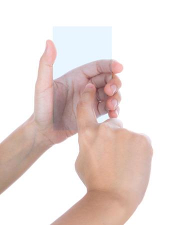 interdigital: Beautiful woman hand holding transparent white device isolated on white background Stock Photo