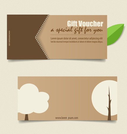 coupon: Gift coupons with nature background. Vector illustration. Illustration