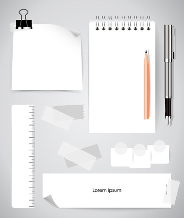 web design elements: Note book and note papers, Business working elements for web design , mobile applications, social networks. Illustration