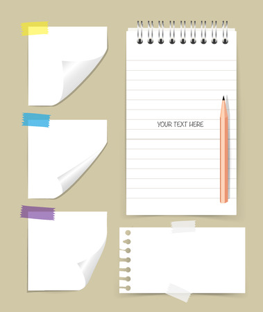 note paper: Note book and note papers with pencil, Business working elements for web design , mobile applications, social networks.