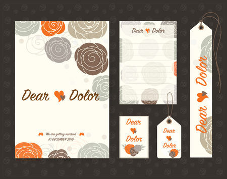 Vintage wedding invitation set design Template. Vector illustration. Vector