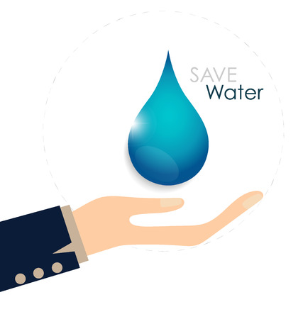 recycling campaign: World water day concept with woman hands hold water drop. Vector illustration. Illustration