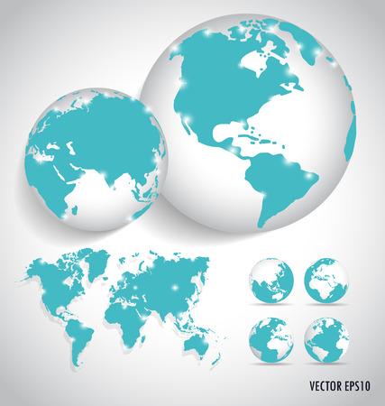 world globe: World map, vector illustration.