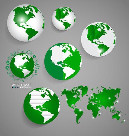 world globe: Modern globes and world map, vector illustration.