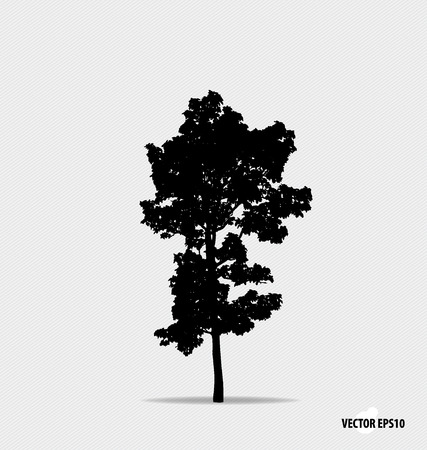 white backgrounds: Tree silhouette. Vector illustration. Illustration