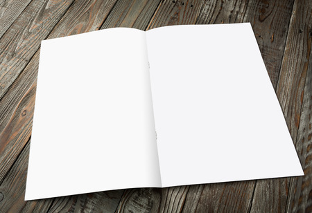 right path: Blank catalog, magazines,book mock up on wood background ( with 4 layer clipping path : Right page,left page,Clip1,Clip2)