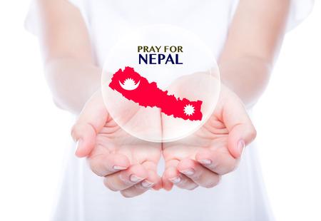 earthquake: Pray for Nepal. Earthquake Crisis Stock Photo