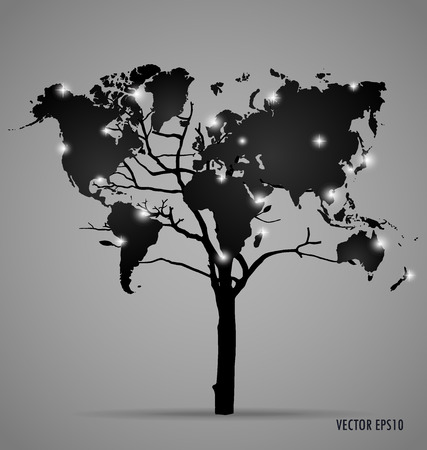 Tree shaped world map. Vector illustration. Ilustração