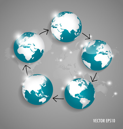 map of asia: Modern globes and world map, vector illustration.
