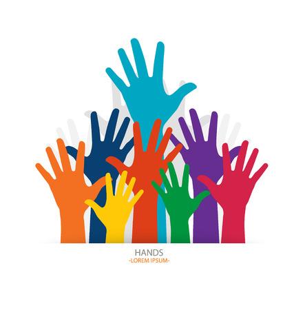 raised hands: Photo of raised hands. Vector illustration.