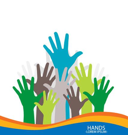participate: Photo of raised hands. Vector illustration.