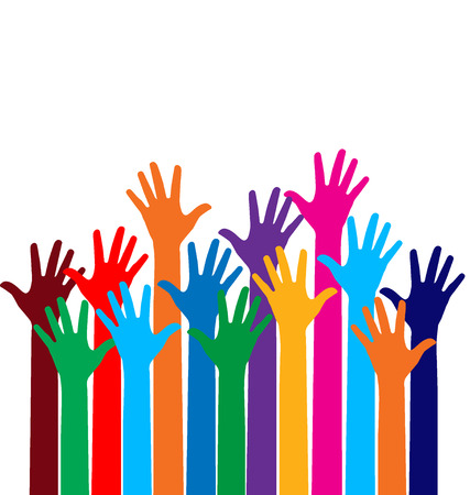 volunteer point: Photo of raised hands. Vector illustration.