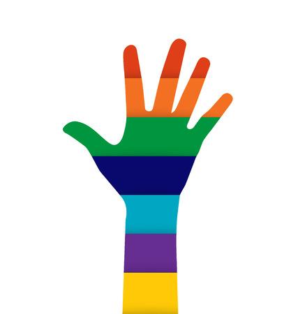 participate: Photo of raised hand. Vector illustration. Illustration