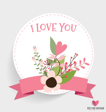 summer day: Happy Mothers Day, Floral bouquets with ribbon and heart, vector illustration. Illustration
