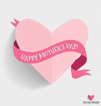Happy Mother's Day with heart and ribbon, vector illustration.