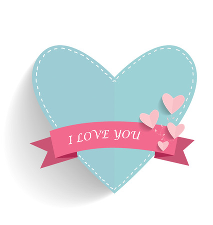 editable sign: Happy Mothers Day with heart and ribbon, vector illustration.