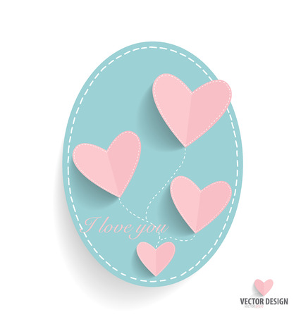 natural love: Cute note paper with hearts. Vector illustration. Illustration