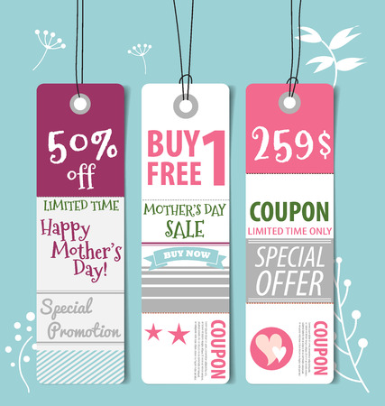 Sale Coupon, voucher, tag. Happy Mother's Day, vector illustration. Illustration