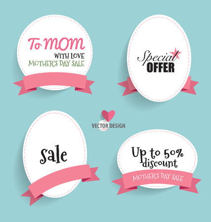 Sale Coupon, voucher, tag. Happy Mothers Day, vector illustration.