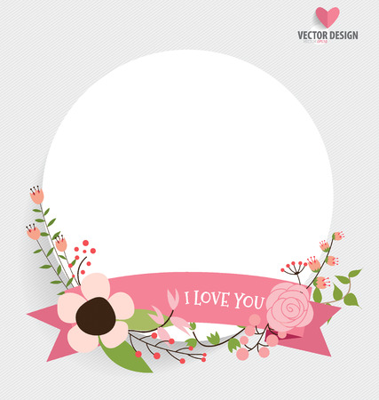 Floral bouquets with ribbon and heart, vector illustration. Vector