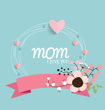 Happy Mothers Day, Floral bouquets with ribbon and heart, vector illustration. Vector