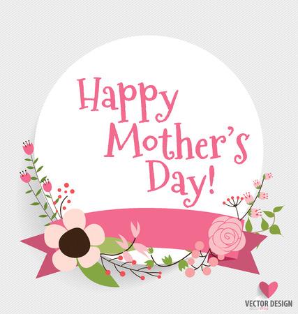 Feliz Día de la Madre con ramos de flores de fondo, ilustración vectorial.