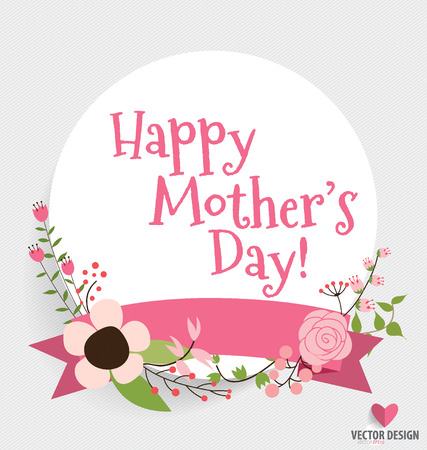 mothers day: Happy Mothers Day with Floral bouquets background, vector illustration.