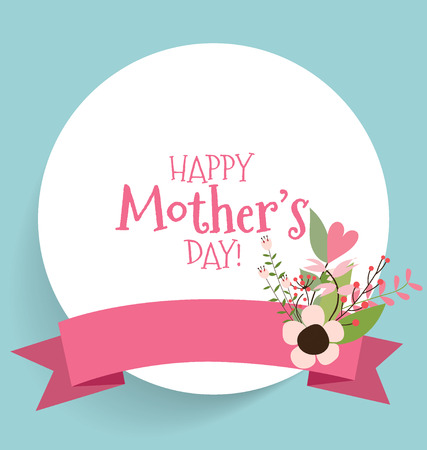 Happy Mothers Day with Floral bouquets background, vector illustration. Vector