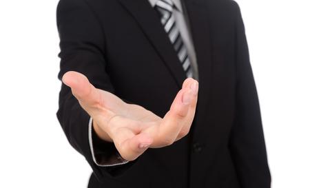 manos abiertas: Abra la mano del hombre de negocios