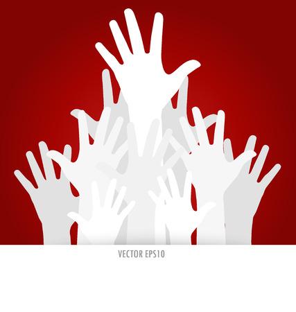 participate: Raised hands. Vector illustration.