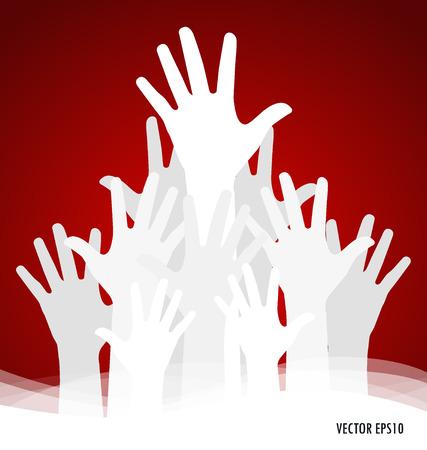 raised: Raised hands. Vector illustration.