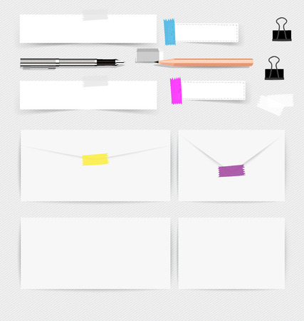 card board: Collection of various note papers, ready for your message. Vector illustration.