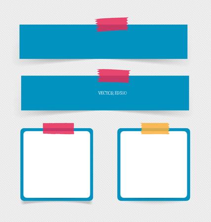 白いメモ用紙、準備ができてあなたのメッセージのコレクション。ベクトルの図。  イラスト・ベクター素材