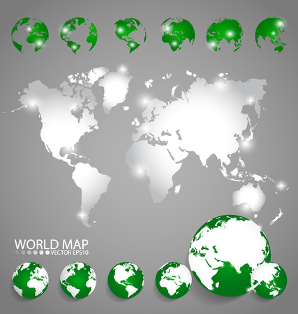 world of work: Modern globes and world map, vector illustration.