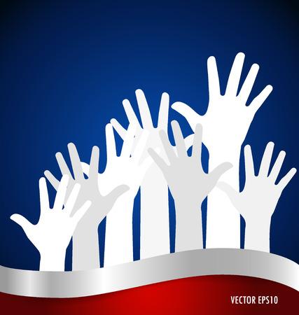 volunteer point: Raised hands. Vector illustration.