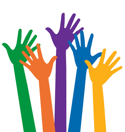 group of hands: Raised hands. Vector illustration.
