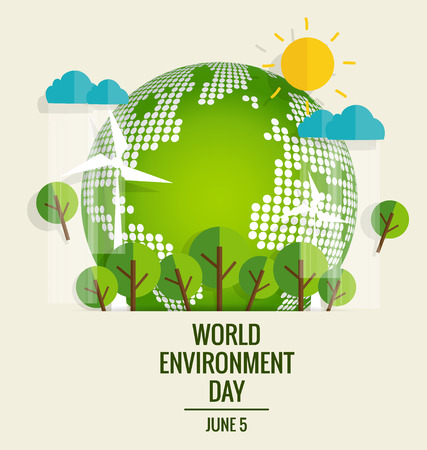 世界环境日的概念。绿色地球生态。矢量插图。
