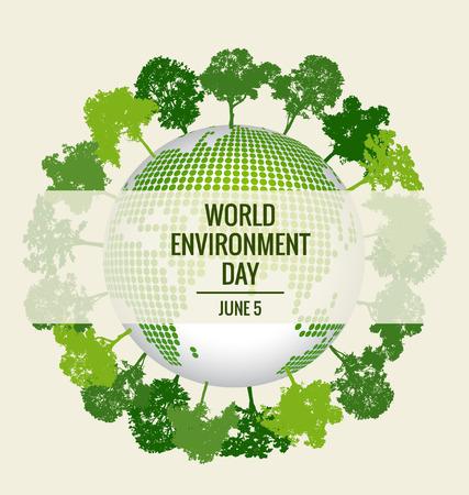 世界環境の日の概念。緑のエコ地球  イラスト・ベクター素材