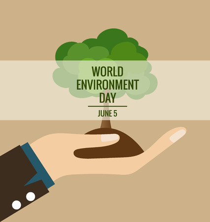 World environment day concept, Hands with tree. Vector illustration. Vector
