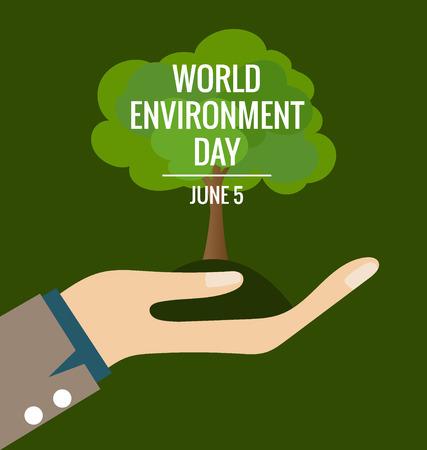 世界环境日理念,手与树。矢量插图。