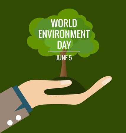 ecological environment: World environment day concept, Hands with tree. Vector illustration. Illustration