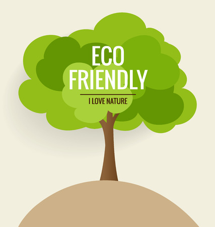 ecological environment: ECO FRIENDLY. Ecology concept with tree background. Vector illustration.