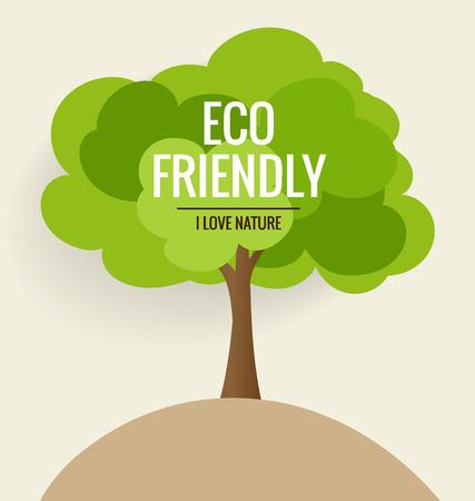přátelský: Ekologicky šetrné. Ekologie koncepce s pozadí stromů. Vektorové ilustrace. Ilustrace