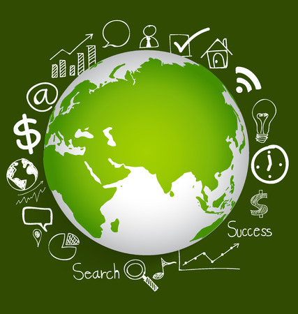 world globe: Modern globe with application icon, modern template design. Vector illustration.