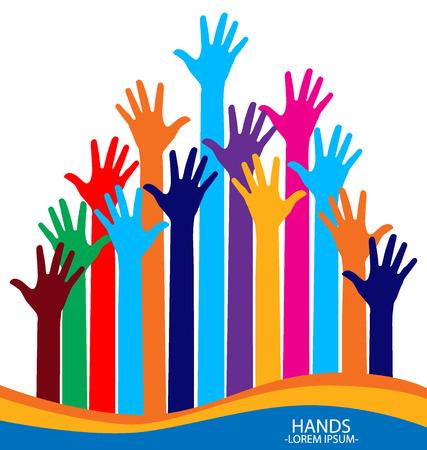 raised hands: Raised hands illustration. Illustration