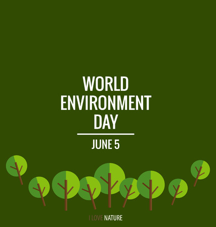 environment protection: World environment day concept with tree background. Vector illustration.
