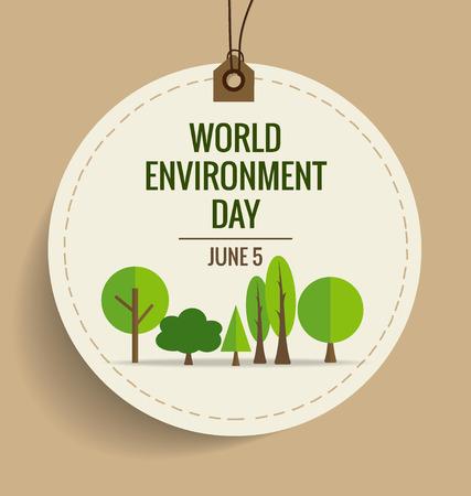 Bandera de la naturaleza. Entorno Mundial concepto día. Ilustración del vector.