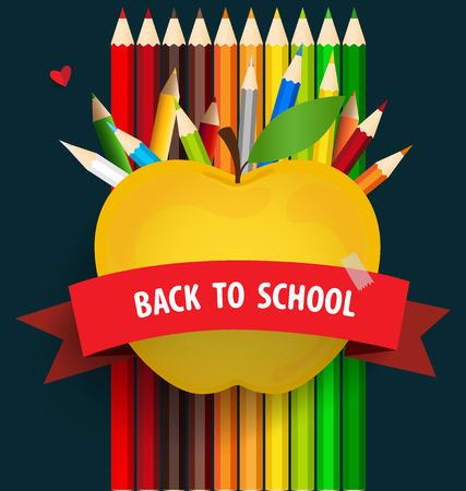 pencil paper: Bienvenido de nuevo a la escuela con Apple y l�pices de colores de fondo