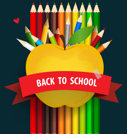 pencil: Welcome back to school with Apple and Colour pencils background Illustration